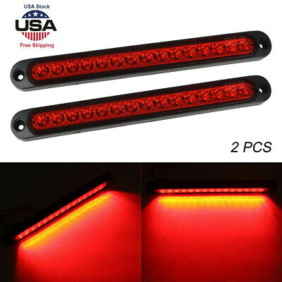 "2x Red 11 LED Stop Brake Turn Tail  15/"" Truck Trailer Car light Bar waterproof"