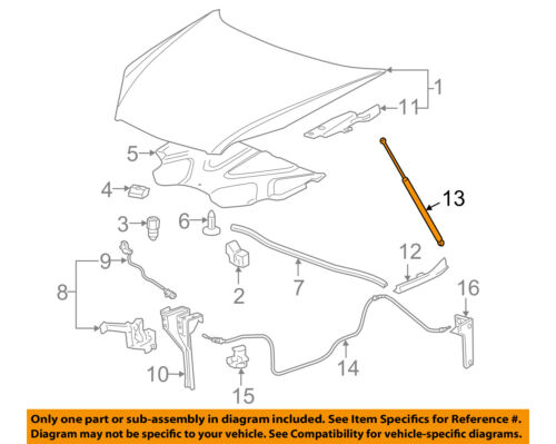 Chevrolet GM OEM 06-11 Impala Hood-Lift Support Strut Shock Prop Arm 15833919