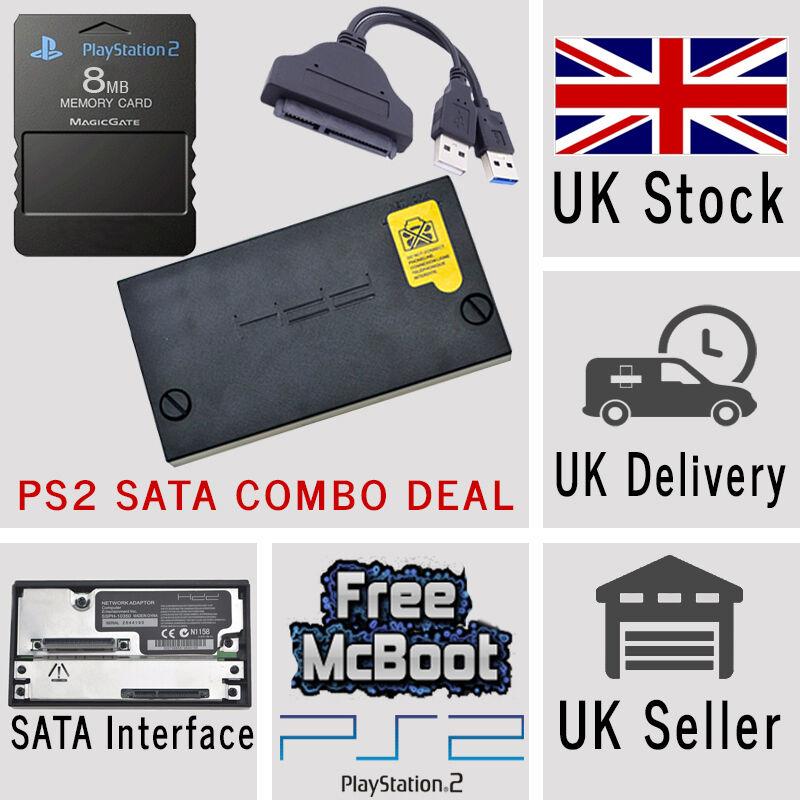 Sony PlayStation2 PS2 SATA Hard Drive Adaptor Adapter 8MB Memory Card McBoot USB