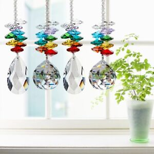 25cm-Rainbow-Maker-Crystal-Suncatcher-30-50mm-Chandelier-Ball-Prism-Pendan-ya7