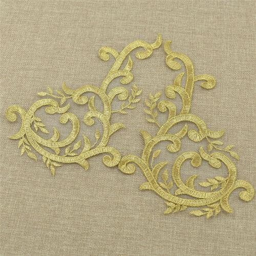 1 par doradas Encaje boda apliques coser Bordado Hágalo usted mismo Decoración Nupcial Abrigo Craft
