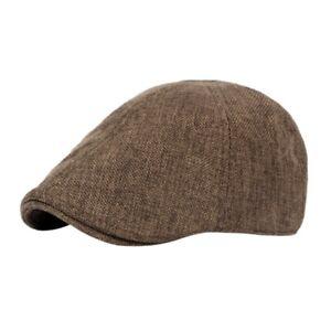 Mens-Solid-Linen-Gatsby-Cap-Ivy-Hat-Golf-Driving-Summer-Sun-Flat-Cabbie-Newsboy