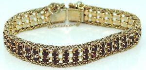 Damen-Armkette-Vintage-vergoldet-mit-Granat