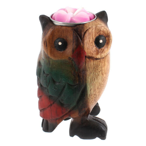 Hand carved OWL Wooden Tea Light Holder Ornament Gift FREE scented flower candle