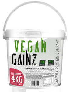 Serious Vegan Gainz Weight Gainer 4kg Muscle Mass Protein Powder Strawberry