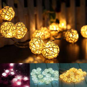 20 led rattan kugel lichterkette schnur deko wei licht. Black Bedroom Furniture Sets. Home Design Ideas