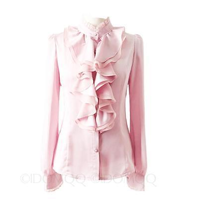Lace blouse lady Vintage Victorian Shirt long sleeve ruffle trim button Top Size