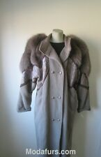 Women's Sz 8 Wool Coat with Fox Fur & Leather Trims  PRISTINE