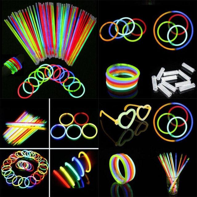 1x 100pcs Glow Sticks Neon Party Wedding Magic Bracelets Necklaces Fluorescent