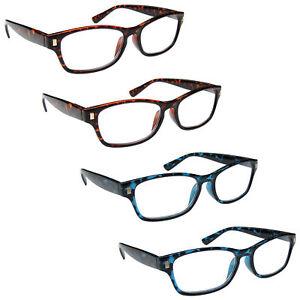 Value-4-Packs-Mens-Womens-Reading-Glasses-Spring-Hinges-UV-Reader-RRRR10