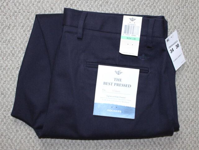 NWT Mens DOCKERS Signature Khaki Pants CLASSIC Pleated • Black Pebble Gray Navy