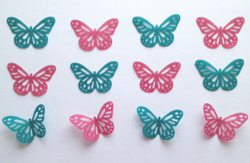12 Teal Green /& Pink Edible Rice Wafer Paper Butterflies Cake Cupcake Toppers