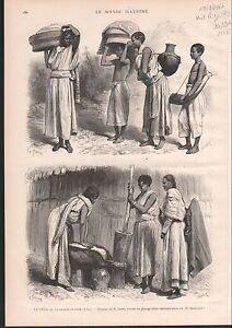 LE-CHOA-FABRICATION-PAIN-BREAD-MAKING-HAUT-NIGER-1886-GRAVURE-ANTIQUE-PRINT
