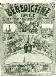 Publicite-ancienne-Benedictine-liqueur-ancienne-Abbaye-Fecamp-1907-issue-magazi