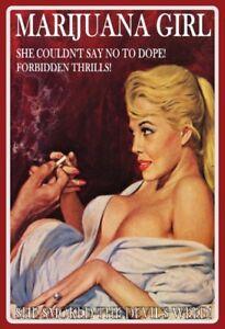 Marijuana-Girl-Motiv-1-Blechschild-Schild-gewoelbt-Metal-Tin-Sign-20-x-30-cm