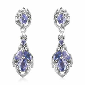925-Sterling-Silver-Platinum-Over-Blue-Tanzanite-Drop-Dangle-Earrings-Cts-0-5