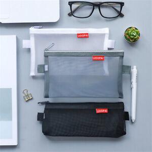 1x-Transparent-Clear-Student-Pen-Pencil-Case-Zip-Mesh-Portable-Pouch-Bag-Storage