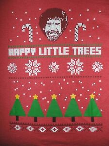 Bob Ross T Shirt Ugly Christmas Sweater Design Happy Little Trees