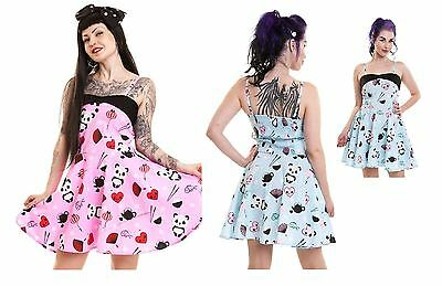 Cupcake Cult Tea Party Dress Ladies Blue Pink Goth Emo Punk