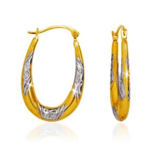 Two Tone Diamond Cut Oval Shape Hoop Earrings 14k Yellow White Gold over 925 SS