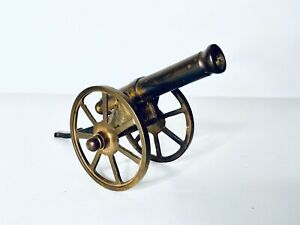 Vintage-Replica-Solid-Brass-Civil-Ware-Era-Canon-Sculpture-Figure-Turning-Wheels