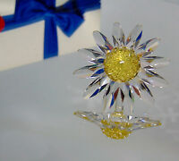 NEW Swarovski CRYSTAL DAISY FLOWER FIGURINE Yellow Marguerite Cake Topper Decor