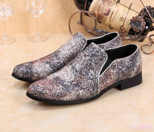 Men/'s Rhinestone Shoes Slip On Bling Bling Oxfords Pointed Toe Business new C8