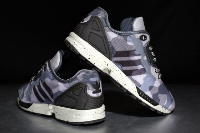 the latest 4b131 b4ece New Adidas ZX Flux Decon Camo Mens M19685 Grey Black Running Shoes Size 12