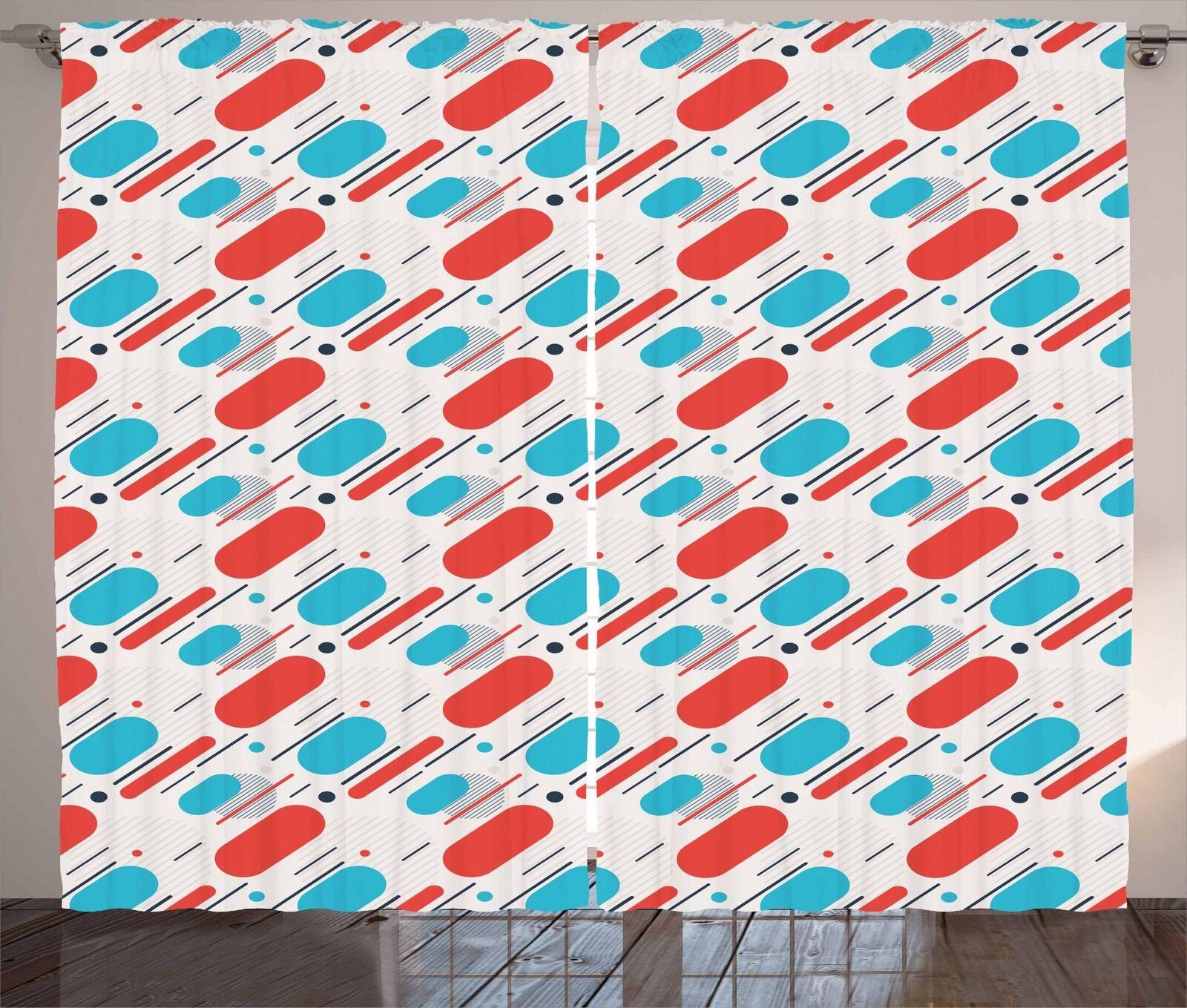 Antique Geometry Curtains 2 Panel Set Decoration 5 Größes Window Drapes