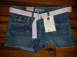 af531456 ew Girl Size 10 or 14 Levi's Blue Jean Shorty Short UNCRUSHED Adj ...