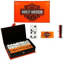 Harley Davidson Motorcycles Dominoes Game Set Double Six Domino Leather Man Cave