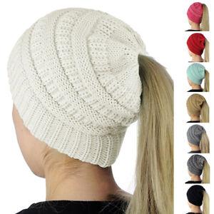 Beanietail-Messy-High-Bun-Ponytail-Stretchy-Knit-Beanie-Hats-Skull-Women-Hat-New