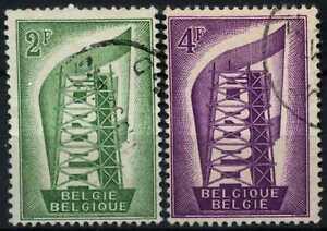 Belgium-1956-SG-1582-3-Europa-Used-Set-D74729