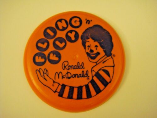 "Vintage 1987 Ronald McDonald Fling 'N' Fly 3 1/2"" Flying Disc Happy Meal Toy"