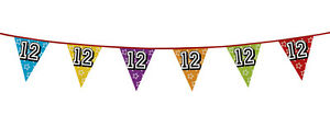 Age-12-12th-Birthday-Holographic-Flag-Bunting-Party-Decoration-26ft-Long-New
