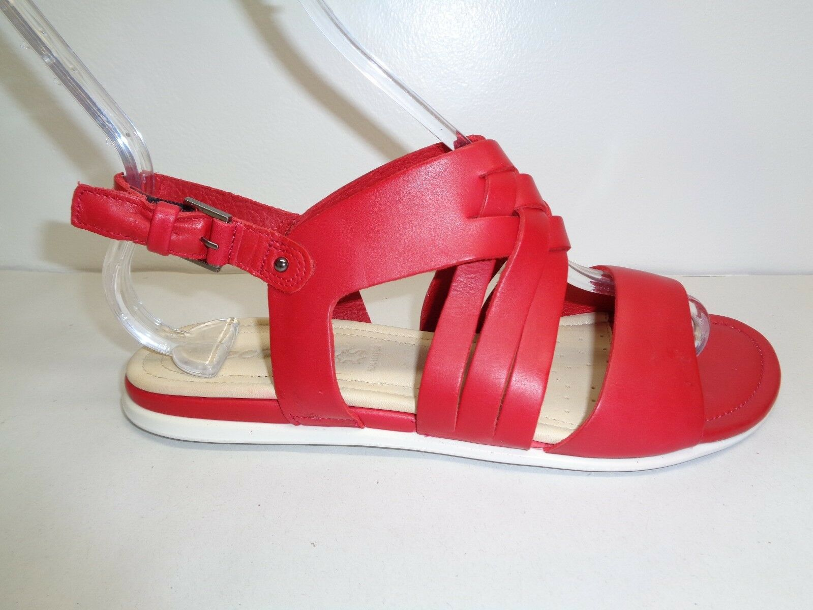 Ecco Size 9 to 9.5 Eur 40 TOUCH BRAIDED Red Leather Sandals New Womens shoes