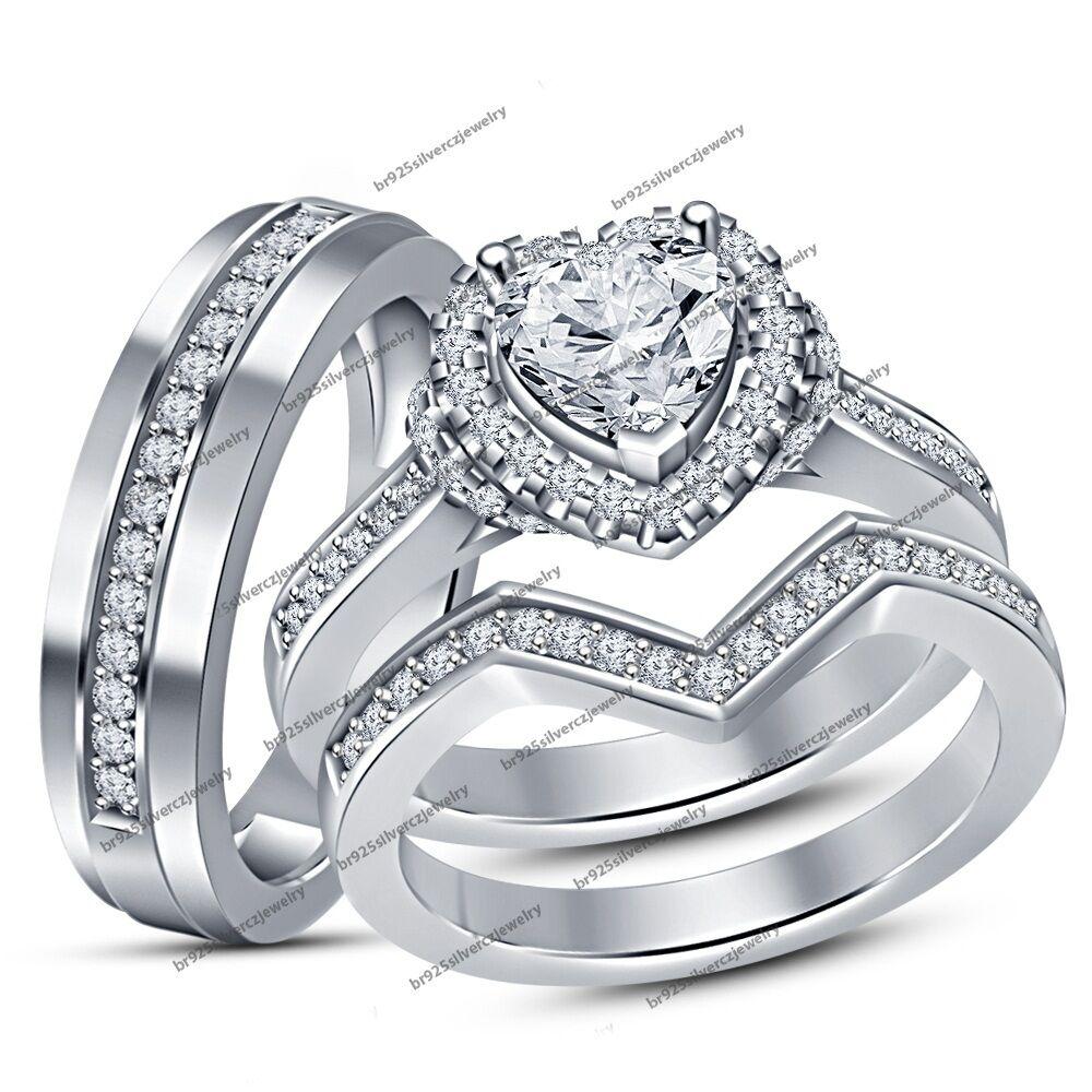 Men's Ladies 2 CT Heart Cut Diamond Engagement Trio Ring Set 14K White gold Over