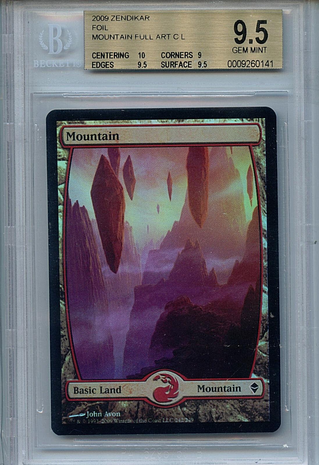 MTG MTG MTG Mountain BGS 9.5 Gem Mint Zendikar Foil Full Art Card Amricons 0141 0a785b