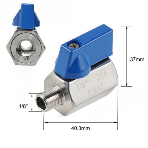 """MINI 1//8/"""" 1//4/'/'  Ball Valves 316 Stainless Steel NPT Thread Female Male Hardware"""