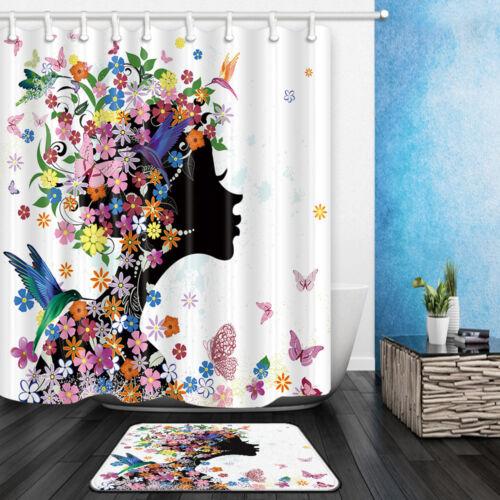 """African girl Hummingbird papillon salle de bains Tissu imperméable rideau de douche 71/"""""""