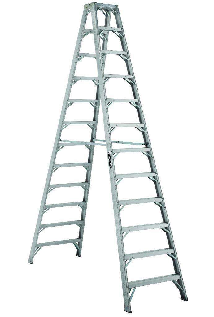 Louisville Ladder 12 Foot Aluminum Industrial Twin Front Step Ladder AM1112HD