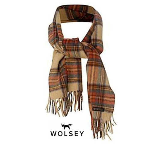Mens Luxury British Made Lambswool Checked Wolsey Scarf Beige