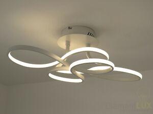 Dettagli su lampadario plafoniera design moderno onde luminose bianco  camera da letto cucina