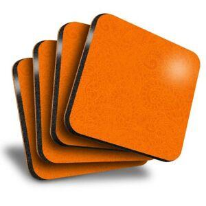 Set-of-4-Square-Coasters-Pretty-Orange-Henna-Design-3687
