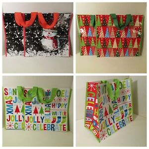 """4 Large Christmas Santa 16.5/"""" X 16.5/"""" Reusable Eco Shopping Tote Gift Bags"""