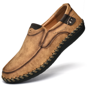 Mens Slip On Loafers Shoe Driving Flats Boat Shoes Casual Cowhide Shoes US 9.5