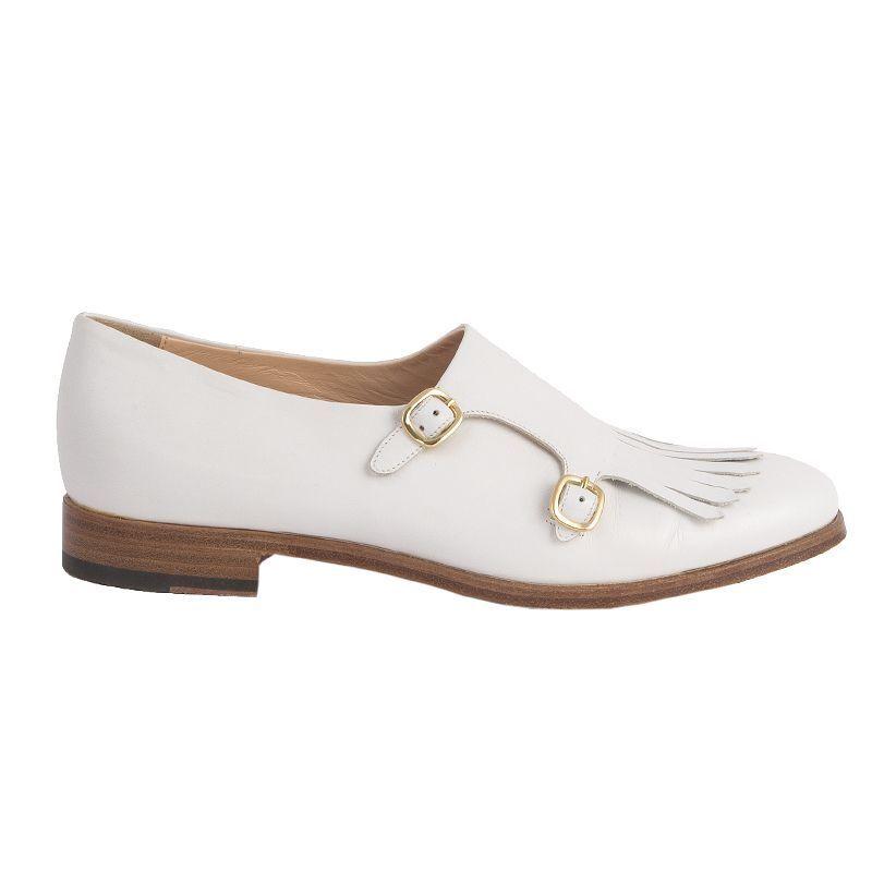 53195 SANDERSON auth RUPERT SANDERSON 53195 off-white leather MONK-STRAP Flats Shoes 39 7768cc