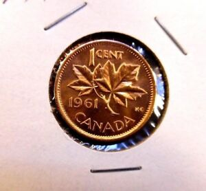 1961 Canadian 1 Cent Maple Leaf Uncirculated Penny Coin Canada