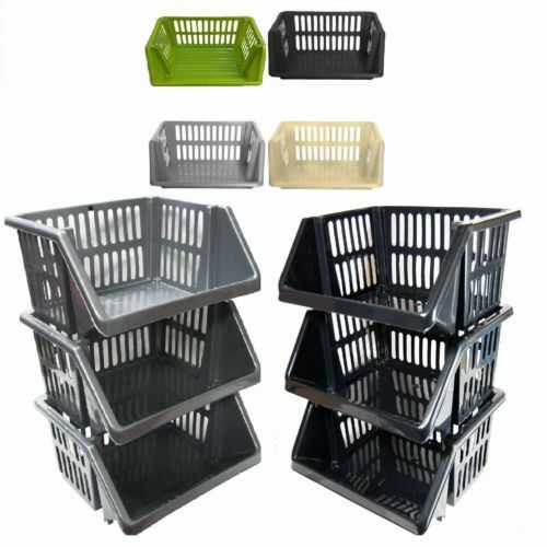 VEGETABLE FRUIT STORAGE KITCHEN BASKET RACK STACK-ABLE  18CM 1 2 3 4 5 TIER