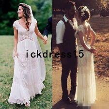 Deep V Neck Bohemian Lace Beach Wedding Dress Backless Bridal Gown Custom 10 12+